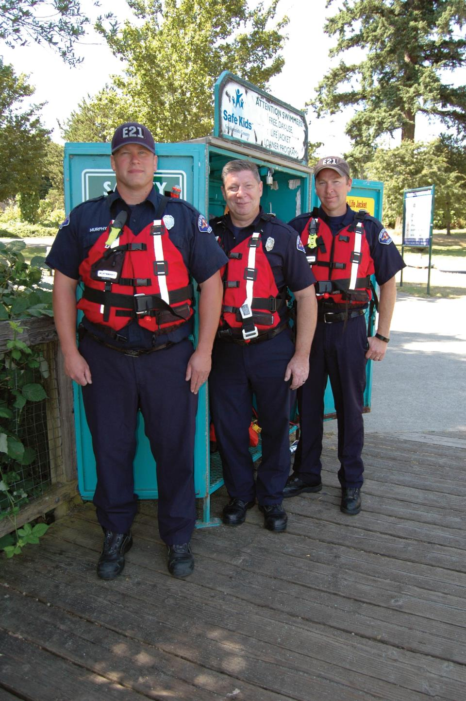 firefighters wear lifejackets available to loan