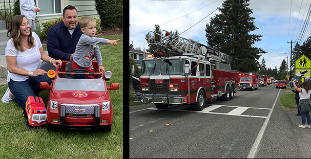 Eli and family at fire truck parade